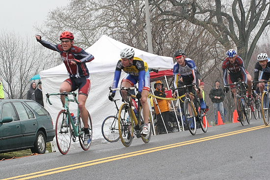 Adrian Gerrits (UPenn), co-promoter, concludes sweeping the inaugural Philly Phlyer with Men's A circuit race, TTT, and crit wins; 2006.