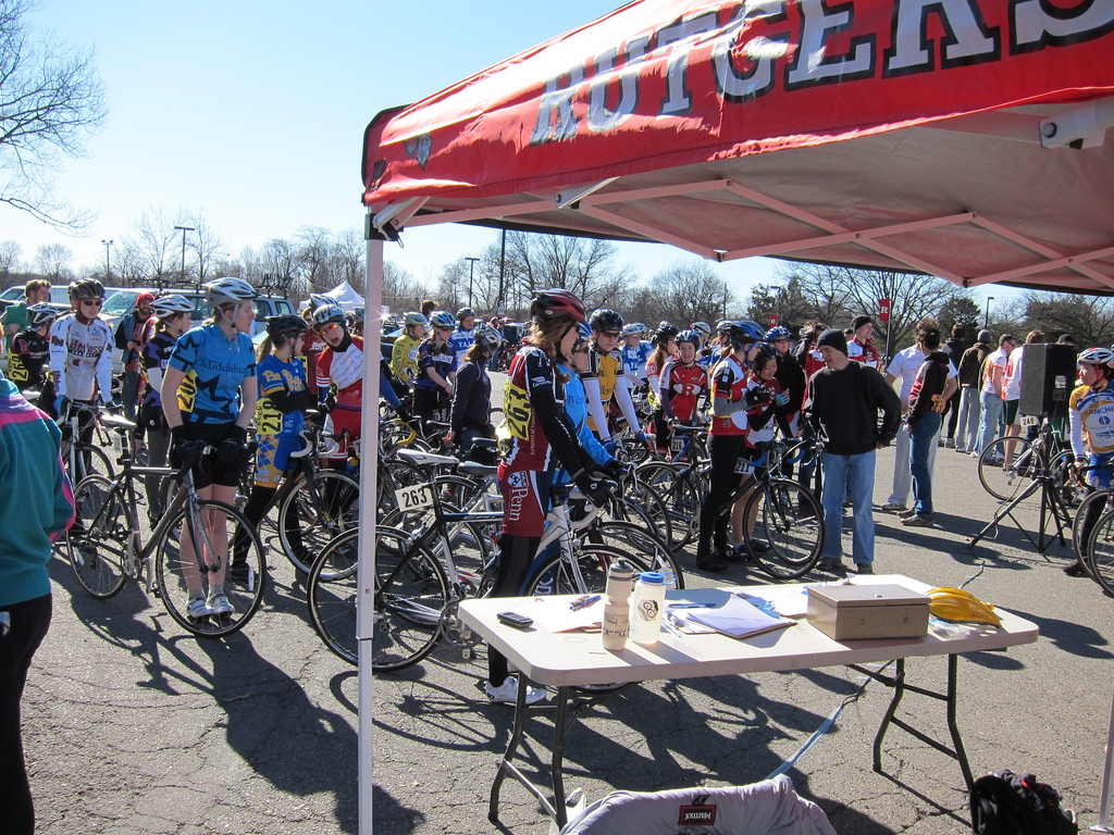 Women's C stages by the start line and registration table at the 2010 Rutgers Season Opener crit.